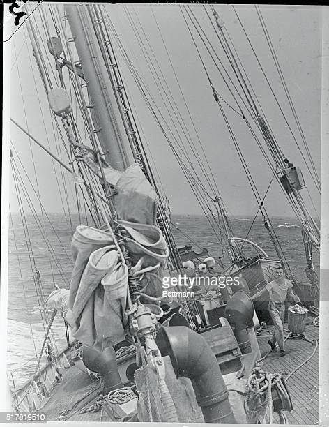 Dr Maurice Ewing professor of geology at Columbia University following arrival at Woods Hole Massachusetts on the 'Atlantis' of the Woods Hole...
