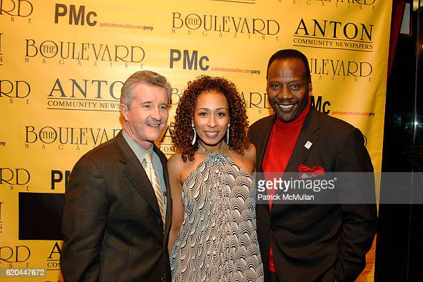 Dr Max Gomez Tamara Tunie and Gregory Generet attend BOULEVARD MAGAZINE Celebrates their April Issue at Hawaiian Tropic Zone on April 14 2008 in New...