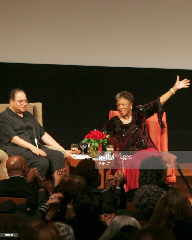 Dr. Maya Angelou (R) and her son speak at The Women In Film and Hallmark Channel Reception honoring Dr. Maya Angelou, November 15, 2005 at The Academy of Motion Picture Arts and Sciences , Los Angeles, California.
