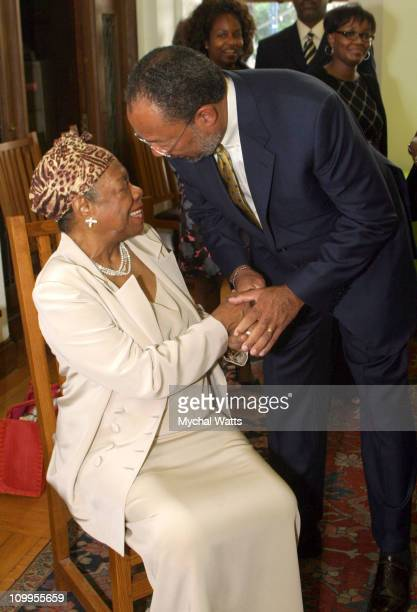 Dr Maya Angelou and Richard Parson during Announcement of the 10th Annual Harlem Renaissance Day of Commitment at Shepard Hall at City College in New...