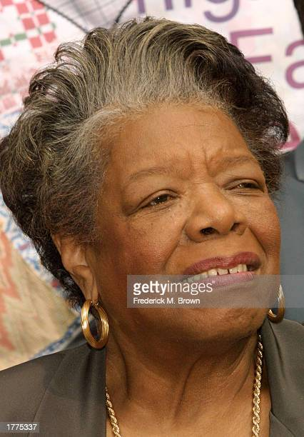 """Dr. Maya Angelou attends an exhibit entitled """"Finding Our Families, Finding Ourselves"""" at the Museum of Tolerance on February 10, 2003 in Los..."""