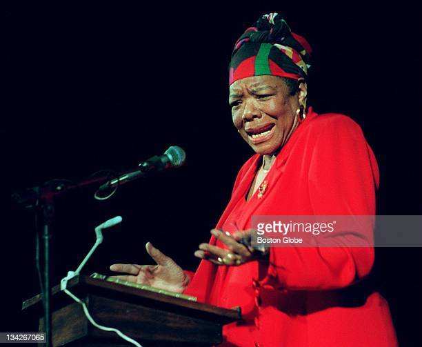 Dr. Maya Angelou delivers poetry to an audience of Tufts University students at the Somerville Theatre.