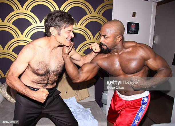 Dr Mehmet Oz and Terence Archie as Apollo Creed pose backstage at the hit musical Rocky on Broadway at The Winter Garden Theater on April 25 2014 in...
