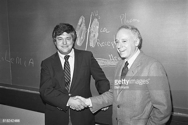 Dr Michael Brown and Dr Richard Goldstein congratulate each other on their winning the 1985 Nobel Prize for Medicine regarding their research on...
