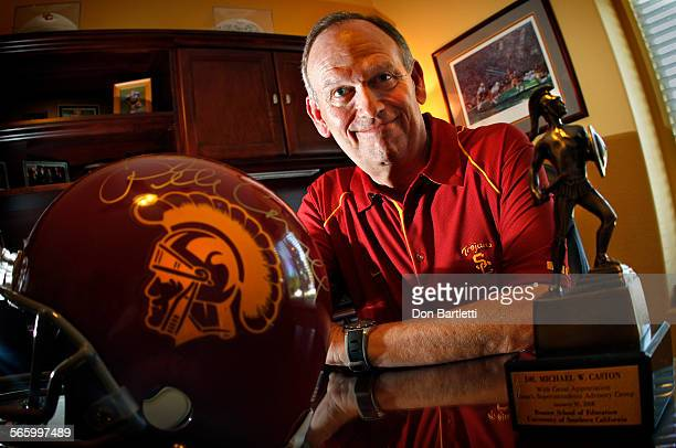AUGUST 17 2012 ESCONDIDO CA Dr Michael Caston in his home office in Escondido CA with momentos from his alma mater USC Caston has ALS is almost...