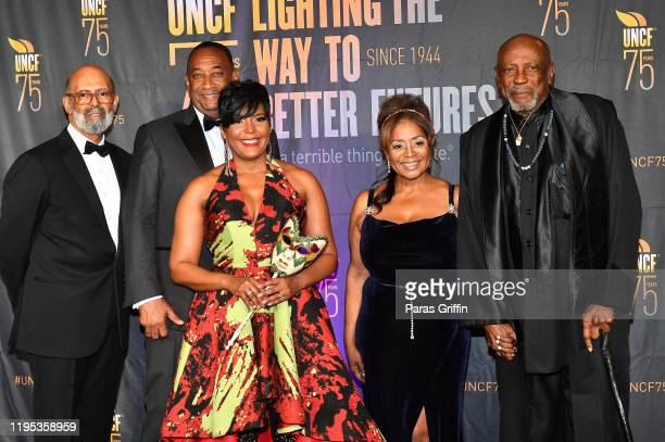 Dr Michael Lomax Derek W Bottoms Atlanta Mayor Keisha Lance Bottoms a guest and Louis Gossett Jr attend 36th Annual Atlanta UNCF Mayor's Masked Ball...