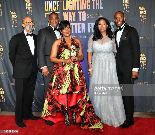 Dr Michael Lomax Derek W Bottoms Atlanta Mayor Keisha Lance Bottoms a guest and Justin Tanner attend 36th Annual Atlanta UNCF Mayor's Masked Ball at...