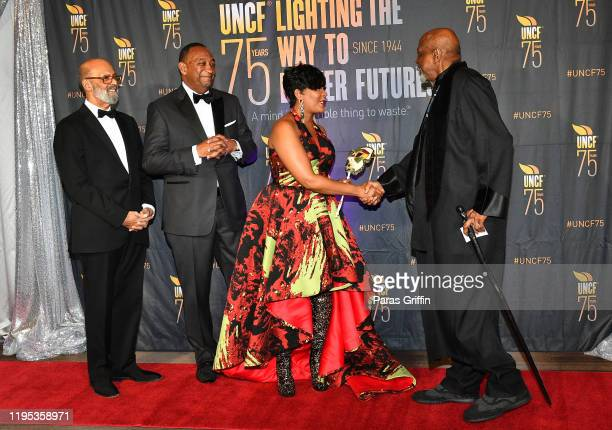 Dr Michael Lomax Derek W Bottoms Atlanta Mayor Keisha Lance Bottoms and Louis Gossett Jr attend 36th Annual Atlanta UNCF Mayor's Masked Ball at...