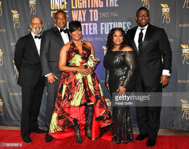 Dr Michael Lomax Derek W Bottoms Atlanta Mayor Keisha Lance Bottoms Danielle Murphy and William Murphy attend 36th Annual Atlanta UNCF Mayor's Masked...