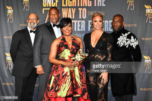 Dr Michael Lomax Derek W Bottoms Atlanta Mayor Keisha Lance Bottoms Gizelle Bryant and Jamal H Bryant attend 36th Annual Atlanta UNCF Mayor's Masked...