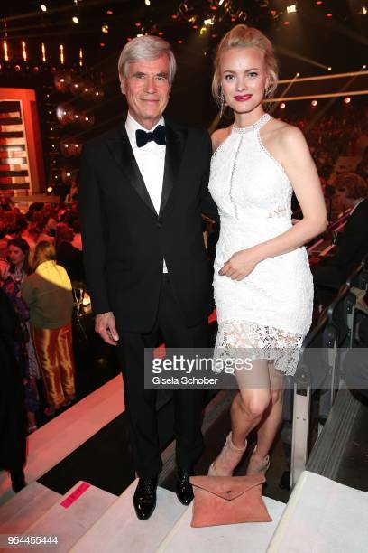 Dr Michael Otto CEO Otto Group and Franziska Knuppe during the 2nd ABOUT YOU Awards 2018 at Bavaria Studios on May 3 2018 in Munich Germany