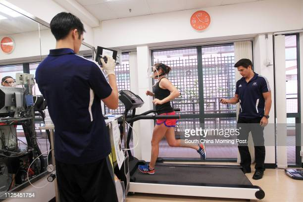 Dr Michael Tse Gaduk with Features health writer Rachel Jacqueline undergoes tests and training at the Institute of Human Performance located at...