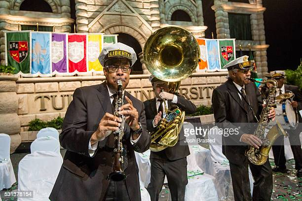 Dr Michael White and the Liberty Brass Band perform at Tulane University's commencement ceremony at the MercedesBenz Superdome on May 14 2016 in New...