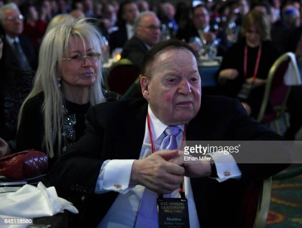 Dr Miriam Adelson and her husband Las Vegas Sands Corp Chairman and CEO Sheldon Adelson attend a speech by US Vice President Mike Pence at the...
