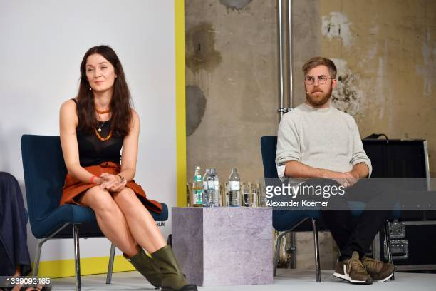 """Dr. Monika Hauck and Dr. Karsten Pufahl speak during the """"Fashion Open Studio x MBFW"""" Talk at the Mercedes-Benz Fashion Week Berlin September 2021 at..."""
