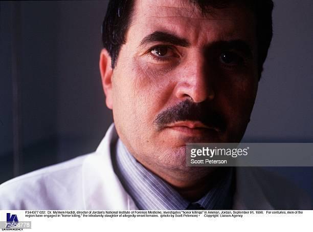 Dr Mu''men Hadidi director of Jordan's National Institute of Forensic Medicine investigates 'honor killings' in Amman Jordan September 01 1998 For...