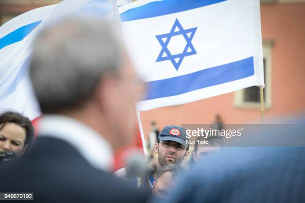 Dr Nachman Shai member of the Israeli parliament the Knesset is seen speaking at the March of Life Holocaust commemoration on Castle Square in Warsaw...