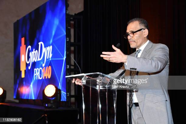 Dr Nader Pourhassan speaks onstage during CytoDyn's Pro 140 Awareness Event for HIV and Cancer Prevention at The Roosevelt Hotel in Hollywood on...