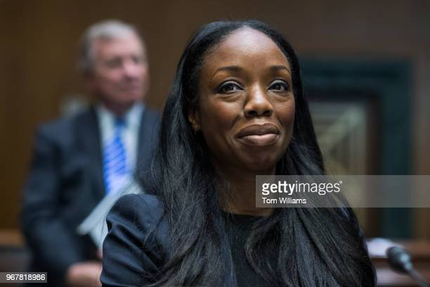 Dr Nadine Burke Harris founder and CEO of the Center for Youth Wellness and Sen Richard Durbin DIll attend a briefing in Dirksen Building on...
