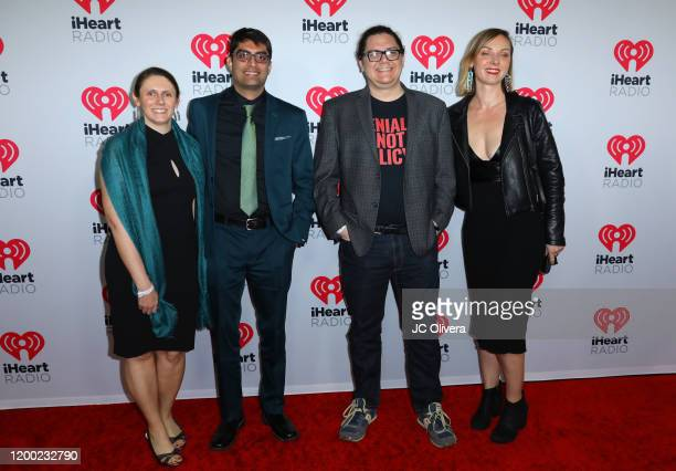 Dr Natalie Umphlett dr Ramesh Laungani director Justin Schell and scientist Sarah Myhre attend the 2020 iHeartRadio Podcast Awards at iHeartRadio...
