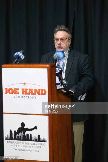 """Dr Nicholas DePace attends the 50th Anniversary Ali-Frazier """"Fight of the Century"""" Statue Dedication on March 8, 2021 at Joe Hand Gym in..."""