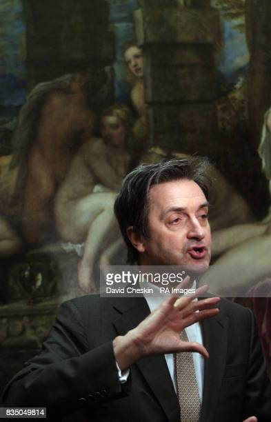 Dr Nicholas PennyDirector of the National Gallery London stands in front of Titian's Diana and Actaeon as they announce that it was acquired for the...
