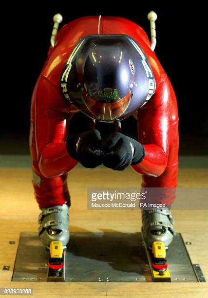 Dr Nigel Brockton a member of the British speed ski team tests his equipment and positions in the Argyll wind tunnel of the Universty of Glasgow's...