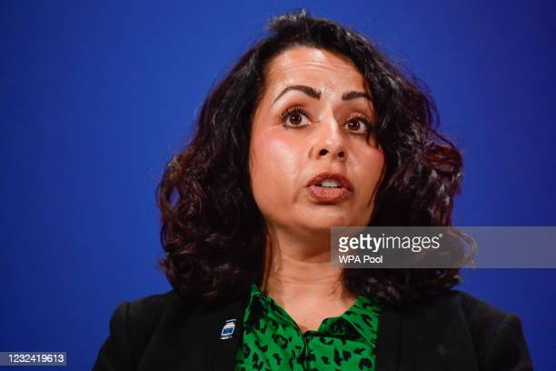 Dr Nikki Kanani, medical director of primary care for NHS England and NHS improvement, speaks at a news conference amid the coronavirus disease...