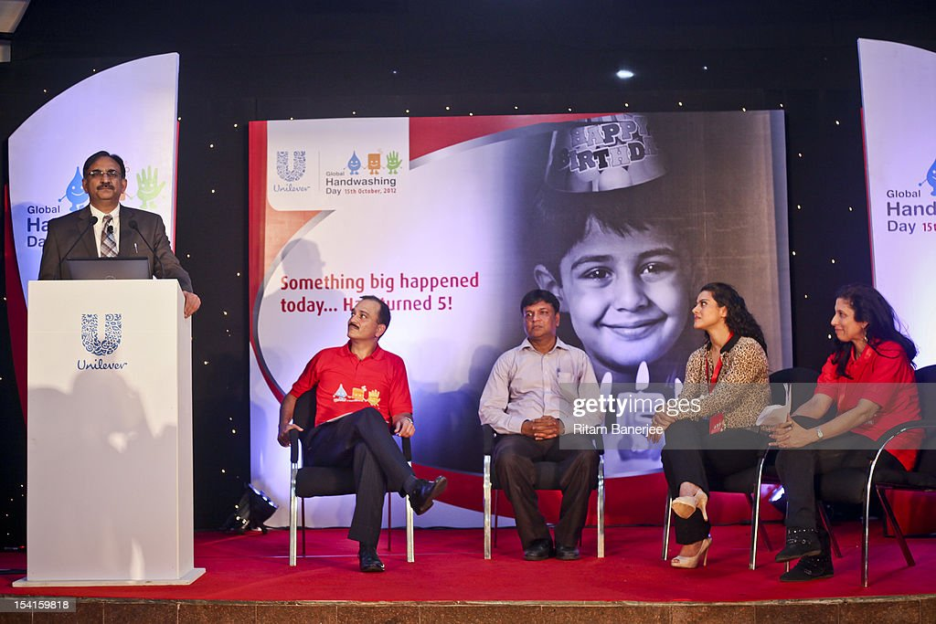 Dr Nirupam Bajpai adresses the gathering as CEO MD of Unilever India Nitin Paranjpe the School Principal Bollywood movie actress Kajol and Executive..