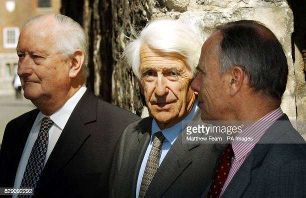 Dr Norman Jones Lord Lloyd of Berwick and Sir Michael Davis arriv at the inquiry into 'Gulf War Syndrome' in Westminster central London Several...