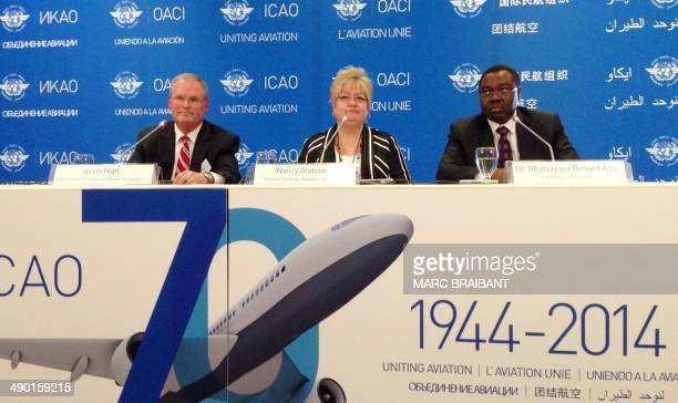 Dr Olumuyiwa Benard Aliu Presidentelect of the International Civil Aviation Organization Council holds a press conference at the ICAO headquarters on...