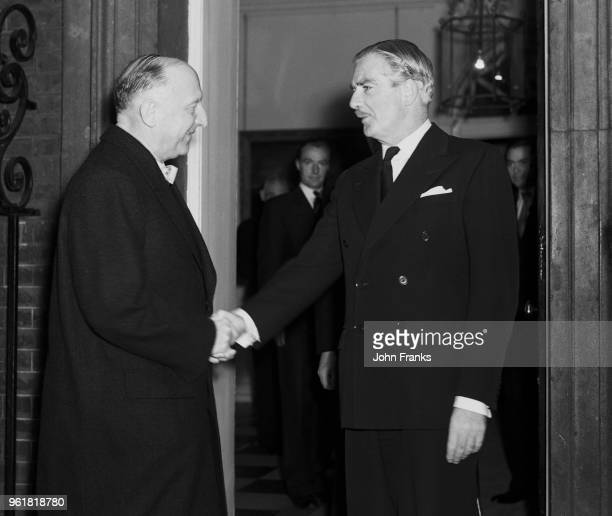 Dr Otto Suhr Governing Mayor of West Berlin shakes hands with British Prime Minister Sir Anthony Eden as he leaves 10 Downing Street in London 9th...