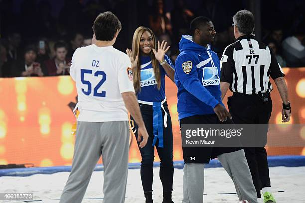 Dr Oz Serena Williams and LaDainian Tomlinson participate in the DirecTV Beach Bowl at Pier 40 on February 1 2014 in New York City
