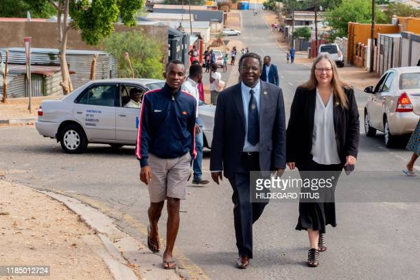 Dr Panduleni Itula an independent presidential candidate in the Namibia general elections and Dr Shonag McKenzie his wife arrives to vote at the...
