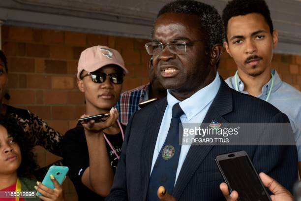 Dr Panduleni Itula an independent presidential candidate in the Namibia general electionstalks to the media after voting at the Mandume Primary...