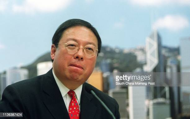 Dr Patrick Ho Chiping Secretary for Home Affairs at a press conference in Central 26 November 2002