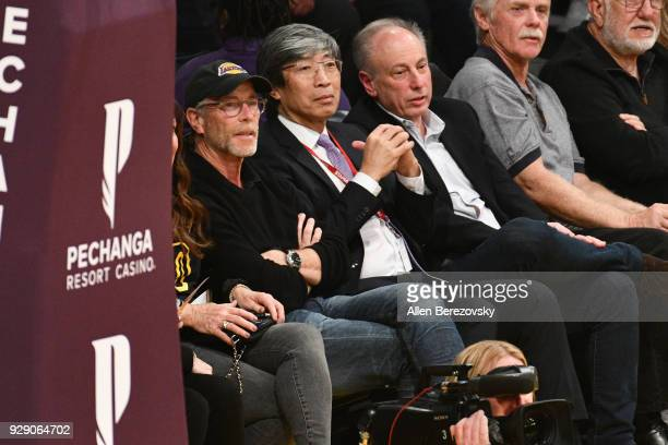 Dr Patrick SoonShiong attends a basketball game between the Los Angeles Lakers and the Orlando Magic at Staples Center on March 7 2018 in Los Angeles...