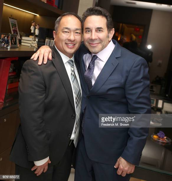 Dr Paul Nassif and a guest unveils his new medical spa with grand opening and ribbon cutting ceremony on March 7 2018 in Beverly Hills California