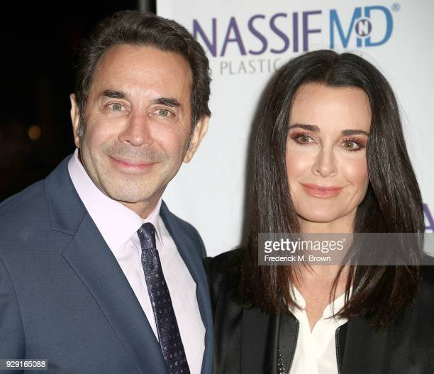 Dr Paul Nassif and Kyle Richards arrive for Dr Paul Nassif unveils his new medical spa with grand opening and ribbon cutting ceremony on March 7 2018...