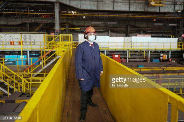 Dr Paul Williams, Labour Party candidate for Hartlepool visits the Liberty Steel pipe mill in Hartlepool on April 09, 2021 in Hartlepool, England....