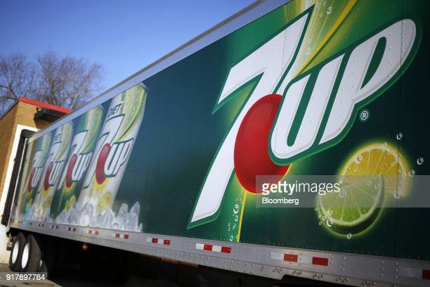 Dr Pepper Snapple Group Inc 7UP brand soda signage is seen on a delivery truck outside a facility in Louisville Kentucky US on Tuesday Feb 13 2018 Dr...