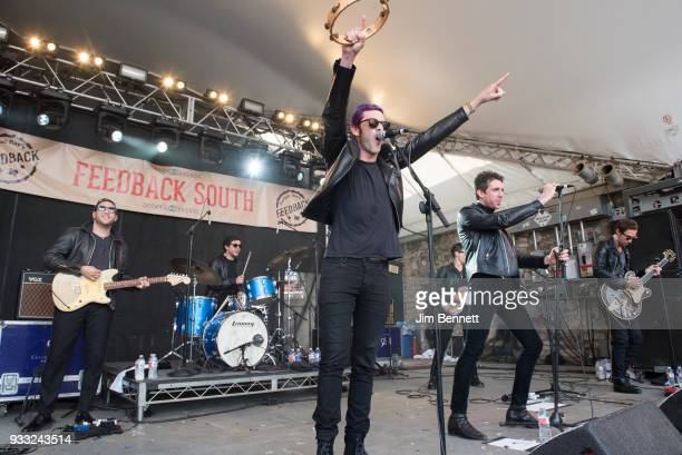 Dr Pepper's Jaded Hearts Club Band featuring drummer Sean Payne bassist Matt Bellamy of Muse and vocalist Miles Kane perform live on stage at Rachael...