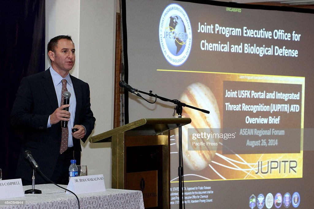 Dr. Peter Andrew Emanuel of Division Chief BioSciences, US Army, Edgewood Chemical Biology Centre is one of the guest speaker of the 3 days of ASEAN Regional Forum Cooperation on Bio-Preparedness and Disaster Response Workshop from August 26th-28th.