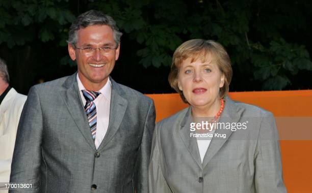 Dr Peter Frey Greeted leader Angela Merkel When Zdf summer festival on the Museum Island in Berlin