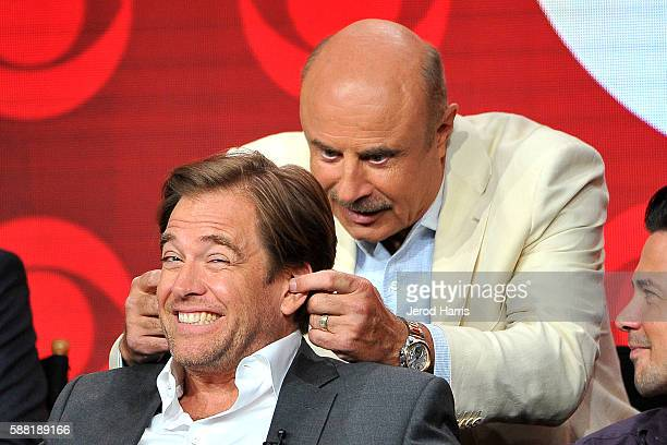 Dr Phil McGraw and Michael Weatherly attend the CBS 2016 Summer TCA Panel at The Beverly Hilton Hotel on August 10 2016 in Beverly Hills California