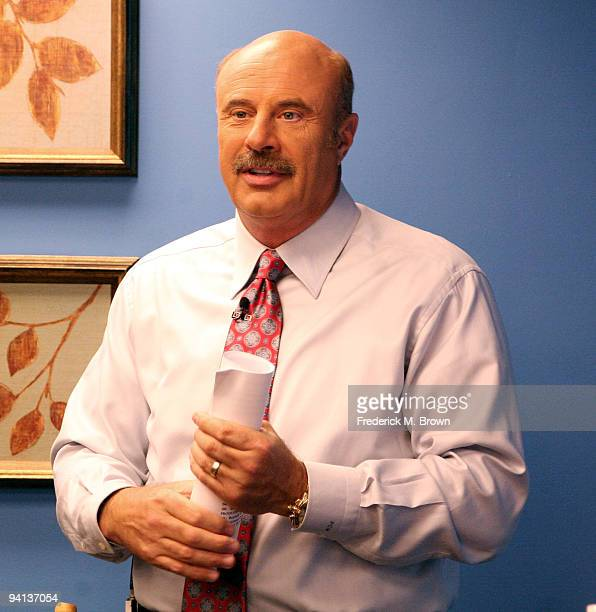 Dr Phil McGraw speaks during the taping of his television show announcing 'Little Kids Rock Across America' at Paramount Pictures Studios on December...
