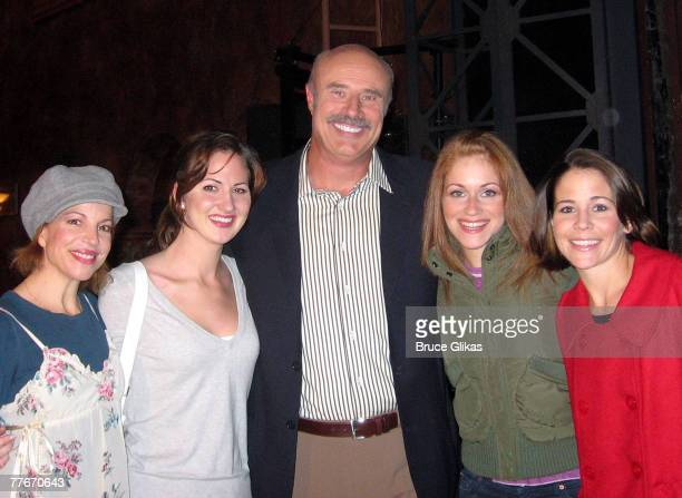 Dr Phil McGraw with Jennifer Naimo Heather Ferguson Erica Piccininni and Sara Schmidt posing backstage at Jersey Boys on Broadway at The August...
