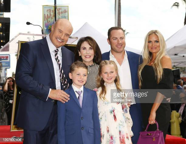 Dr Phil McGraw with Robin McGraw Jay McGraw Erica Dahm Avery Elizabeth McGraw and London Philip McGraw attend the ceremony honoring Dr Phil McGraw...