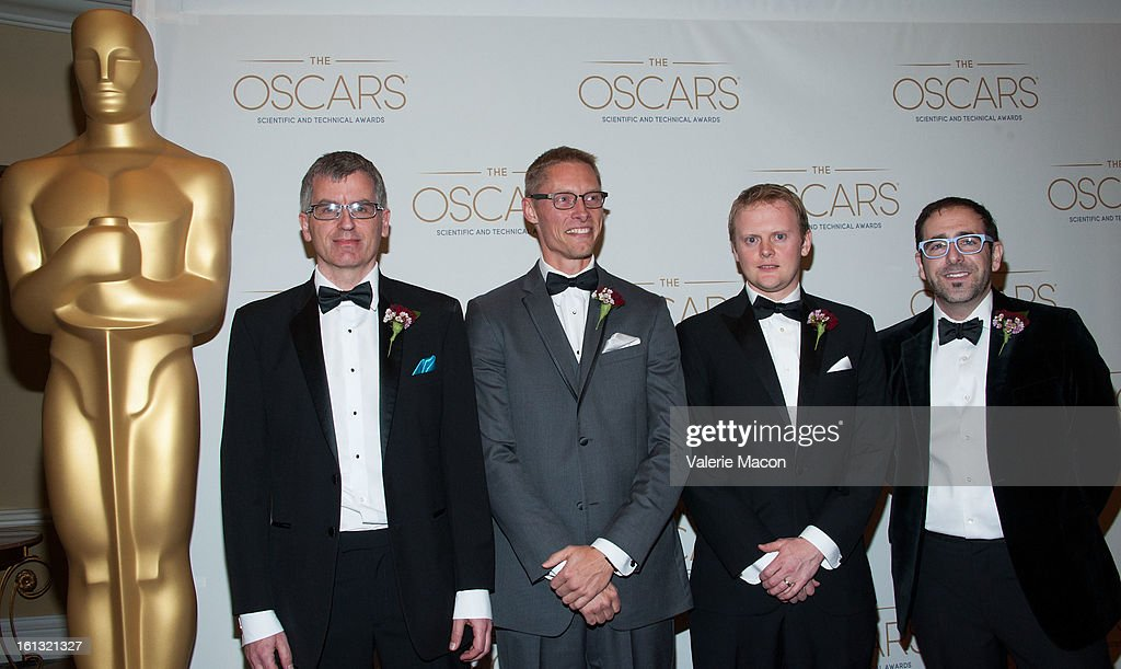 Dr Philip McLauchlan, Allan Jaenicke, John-Paul Smith and Ross Shain arrives at the Academy Of Motion Picture Arts And Sciences' Scientific & Technical Awards at Beverly Hills Hotel on February 9, 2013 in Beverly Hills, California.