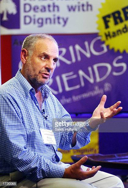 Dr Philip Nitschke an Australian assisted suicide advocate speaks to the media during the Hemlock Society's annual convention at the Bahia Resort...